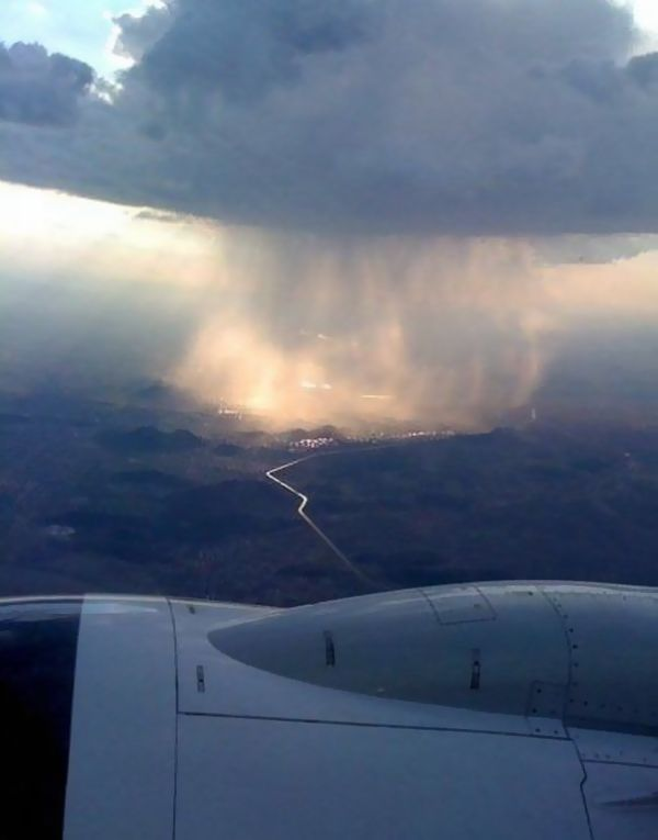 Rain from a plane.